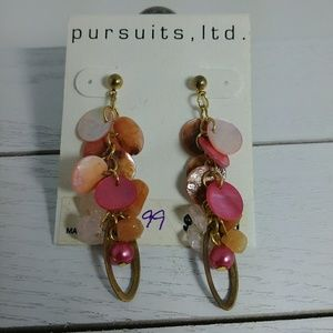 Pursuits LTD Shell Stone Dangle Earrings